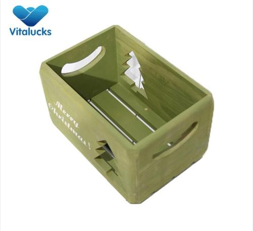 Pine wood wooden storage crate with color painting
