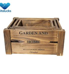 Rustic design  wooden storage crate set 3