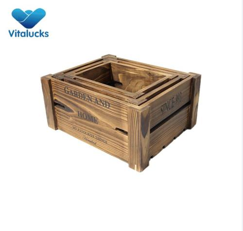 Rustic design  wooden storage crate set 3