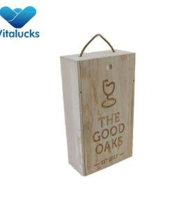Unfinished wooden wine box with engraving laser logo and rope handle for 2 bottle