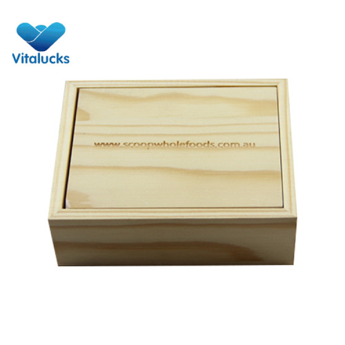 Small wooden storage box pine wood with laser/engraved logo