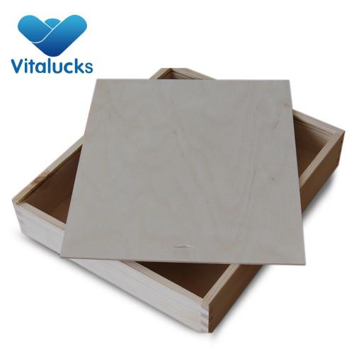 Wood box slide top storage box