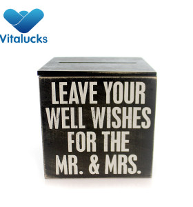 Wooden storage box for wedding wishes