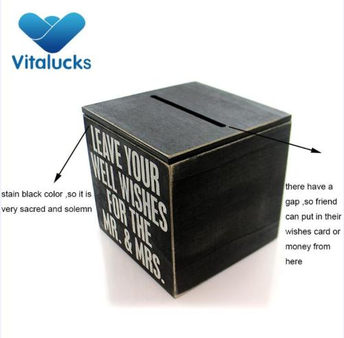Wooden storage box for wedding wishes