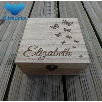 Custom storage wooden box paulownia wood engraved logo