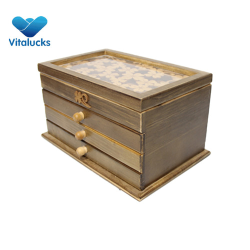Wooden jewellery storage box with drawer