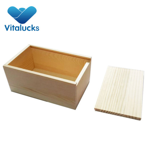 Nature high-grade wooden storage box slid lid with handle hole