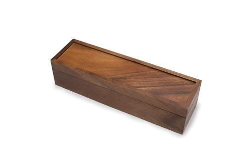 Natural customized wooden tea box with hinge lid 5 compartments/cells