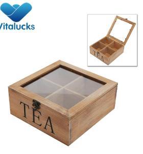 wholesale custom logo natural wood luxury tea tin box with lid