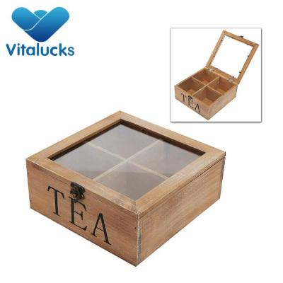 wholesale custom logo natural wood luxury tea tin box with lid