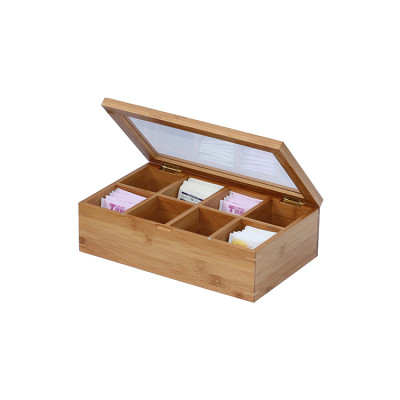 Handmade feature wood tea bags gift packaging box bamboo material