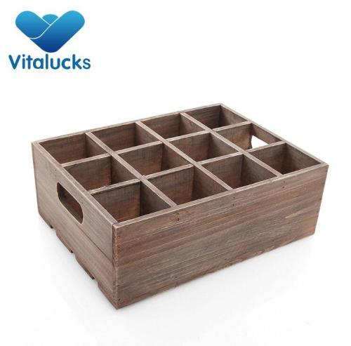 Medium wooden storage box for wine bottles organizor
