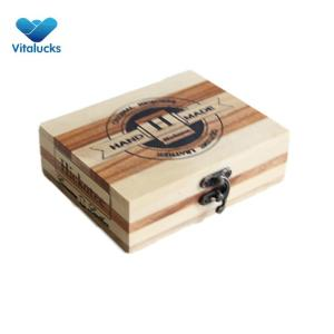 Wholesale pine wood display gift boxes hinged lid