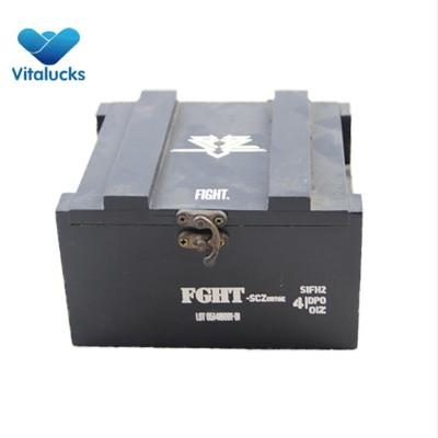 Wooden storage crate box in customized logo printing, matt black painting