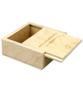 Small wooden sliding lid box customized logo