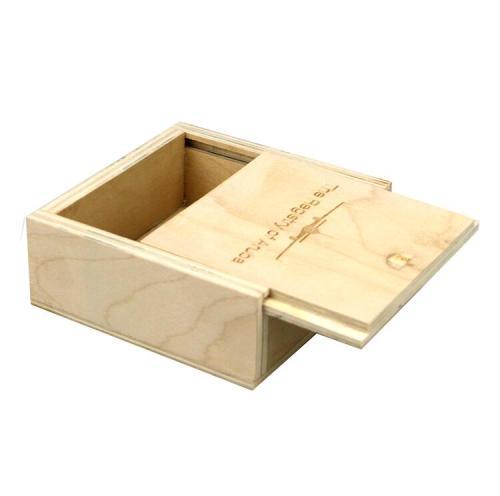 Small wooden sliding lid box customized logo