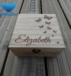 Squared wooden large storage box engraved laser logo