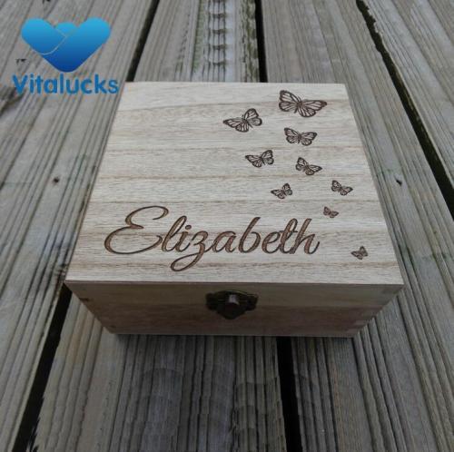Squared wooden large storage box engraved laser logo