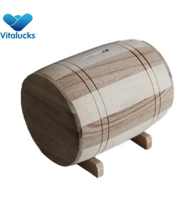New wooden barrel money saving box for wholesale