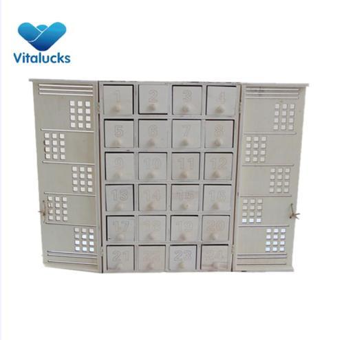 Beautiful and cheap calendar box Xmas advent calendar plywood material