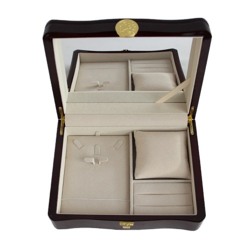 Custom luxurious watch necklace ring jewelry wooden gift box packaging