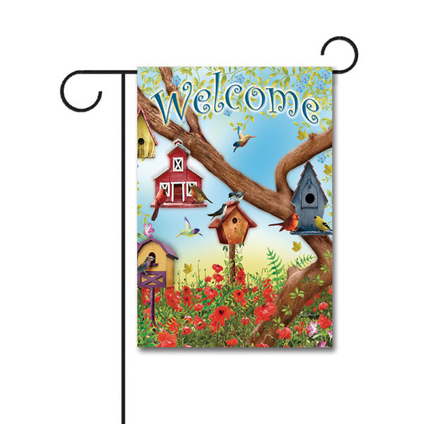 Poppies And Birdhouses 110g Knitted Polyester Double Sided Garden Flag Without Flagpole