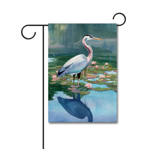 Reflecting Heron 110g Knitted Polyester Double Sided Garden Flag Without Flagpole