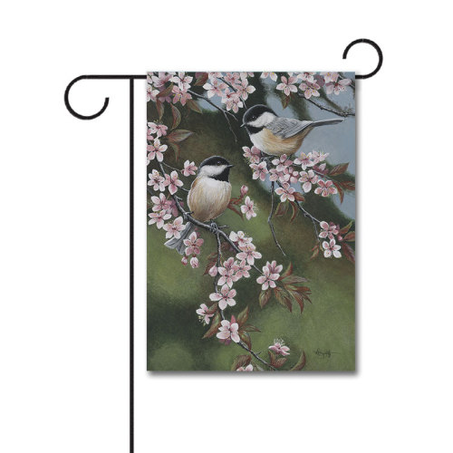 Forget Me Not Chickadees 110g Knitted Polyester Double Sided Garden Flag Without Flagpole