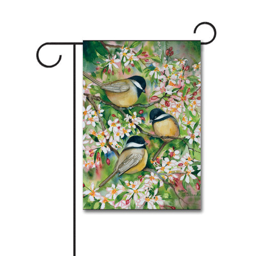 Sweet Chickadees 110g Knitted Polyester Double Sided Garden Flag Without Flagpole