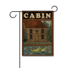 Lakeside Cabin 110g Knitted Polyester Double Sided Garden Flag Without Flagpole