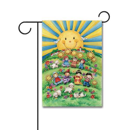 Wholesale Small World 110g Knitted Polyester Double Sided Garden Flag Without Flagpole