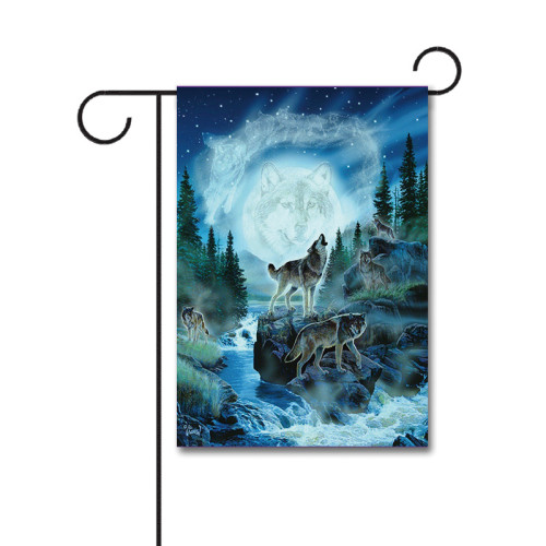 Spirit Wolves 110g Knitted Polyester Double Sided Garden Flag Without Flagpole