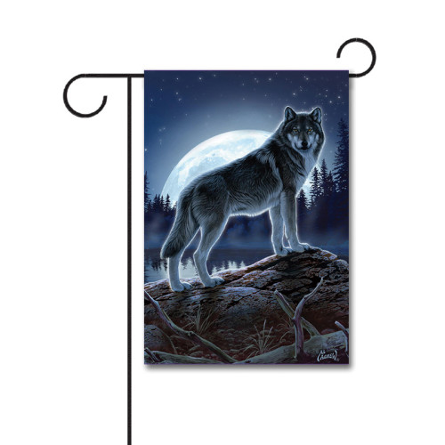 Full Moon Wolf 110g Knitted Polyester Double Sided Garden Flag Without Flagpole