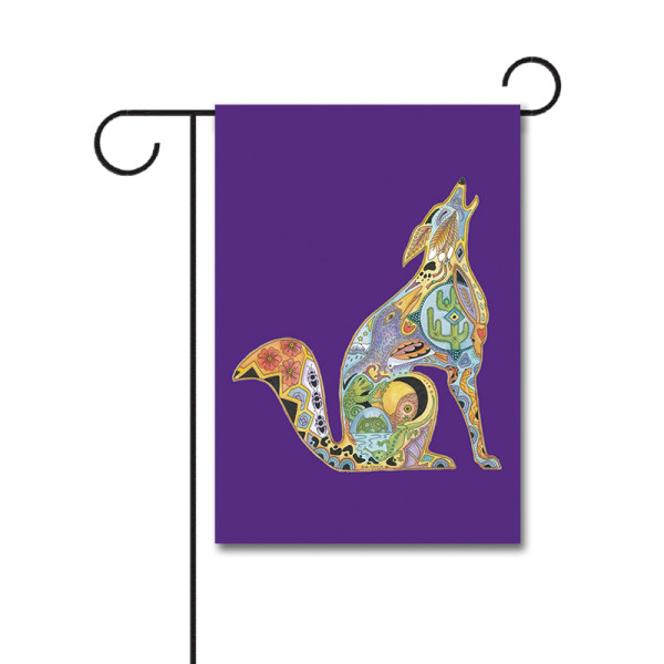 Animal Spirits Howling Wolf 110g Knitted Polyester Double Sided Garden Flag Without Flagpole