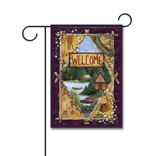 Lakeside Welcome 110g Knitted Polyester Double Sided Garden Flag Without Flagpole