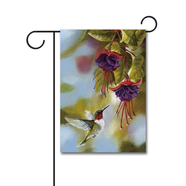 Hummingbird and Fuchsias 110g Knitted Polyester Double Sided Garden Flag Without Flagpole
