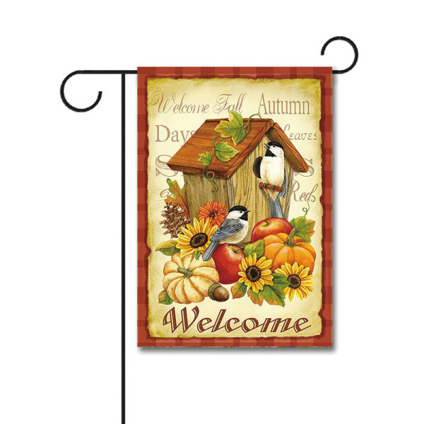 Autumn Birds 110g Knitted Polyester Double Sided Garden Flag Without Flagpole