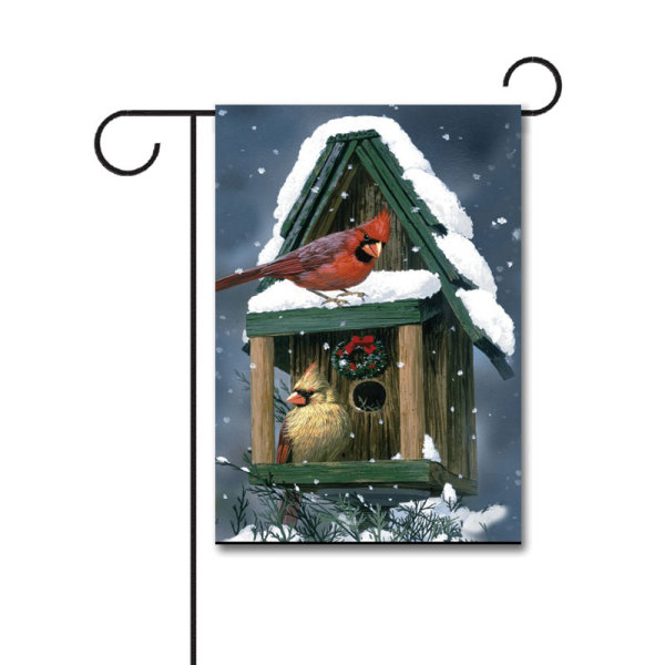 Cardinals in Snow 110g Knitted Polyester Double Sided Garden Flag Without Flagpole