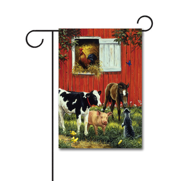 Old McDonald's Farm 110g Knitted Polyester Double Sided Garden Flag Without Flagpole