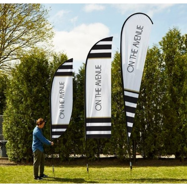 Cheap Custom Double Sided Sublimation Printing Advertising Beach Feather Flags for Promotion