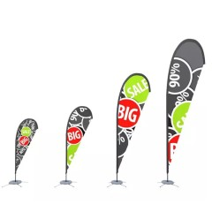 Custom Advertising Rectangle Knife Teardrop Feather Flag Printing Banner Beach Flag