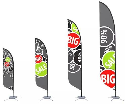 Custom Advertising Rectangle Knife Teardrop Feather Flag Printing Banner Beach Flag