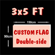 Double-sided Three layers Fast Delivery 3X5ft Custom Flags Banner