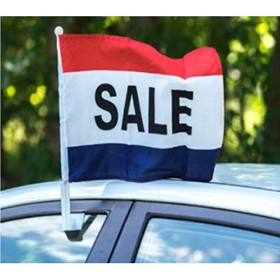 Hot Sale and High Quality Custom Logo Car Flag With Plastic Pole