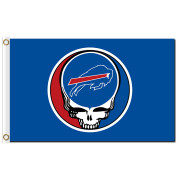 Custom sport flags skull head Buffallo Bills Baseball Game Flags Banners