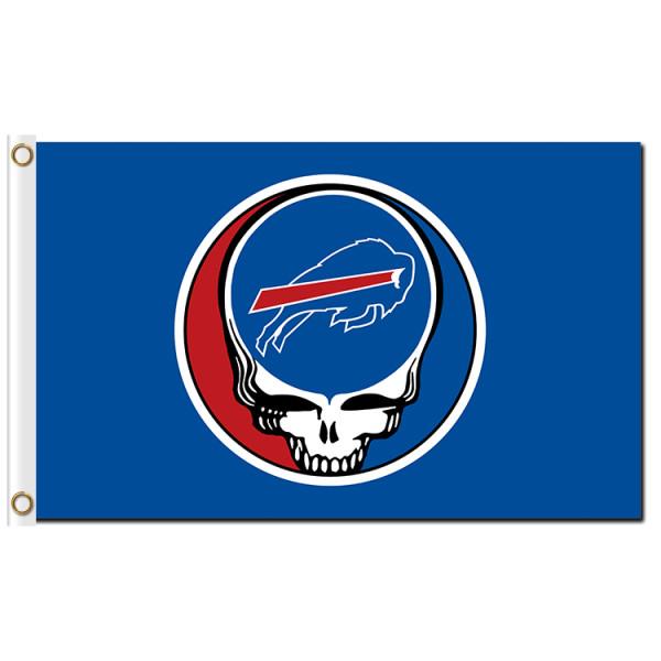 Custom sport flags skull head Buffallo Bills Baseball Game Flags Banners