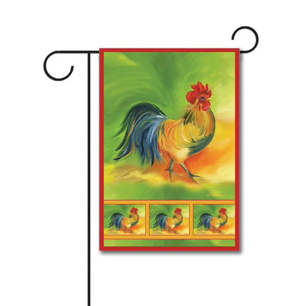 Rooster 110g Knitted Polyester Double Sided Garden Flag Without Flagpole