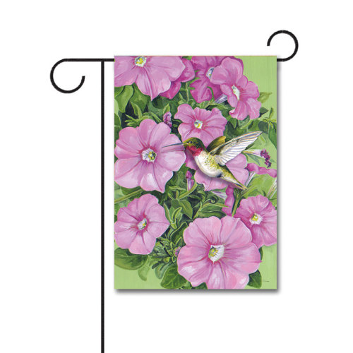 Hummingbird and Petunias 110g Knitted Polyester Double Sided Garden Flag Without Flagpole