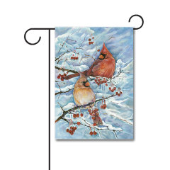 Cardinals and Berries 110g Knitted Polyester Double Sided Garden Flag Without Flagpole