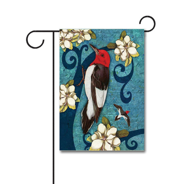 Red Headed Wood Pecker 110g Knitted Polyester Double Sided Garden Flag Without Flagpole